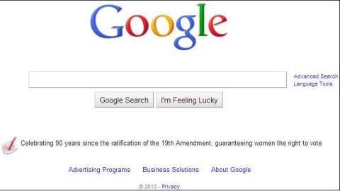 "Screenshot of Google's homepage, featuring a regular logo and the sentence, ""Celebrating 90 years since the ratification of the 19th Amendment, guaranteeing women the right to vote"" under the search bar."